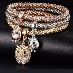 New Owl 3 Dangle Charms Stretch Bracelets